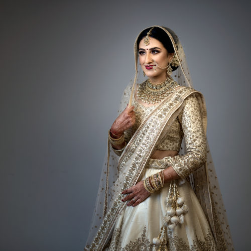 Bridal portrait taken at the Oshwal Centre, Potters Bar by Obsqura Photography.