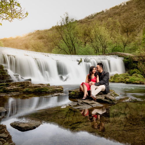 Pre-wedding shoot at a waterfall in Peak District National Park by Obsqura Photography